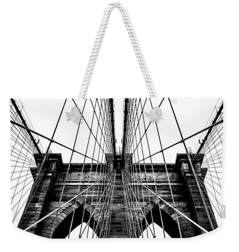 Brooklyn Bridge Weekender Tote Bag featuring the photograph Strong Perspective by Az Jackson
