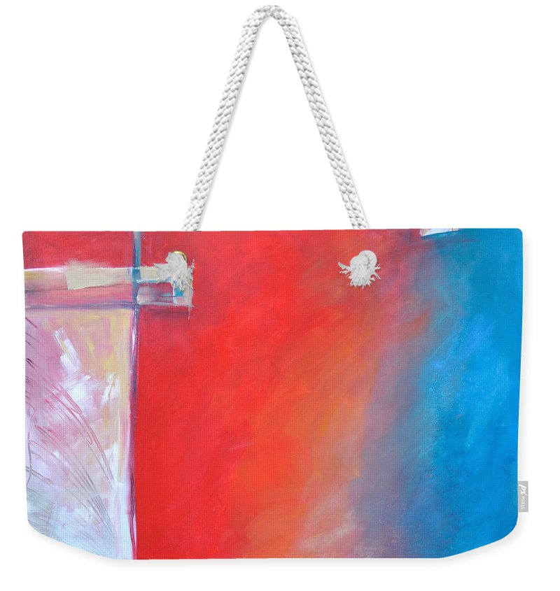 Abstract Weekender Tote Bag featuring the painting Structures And Solitude Revisited by Tim Nyberg