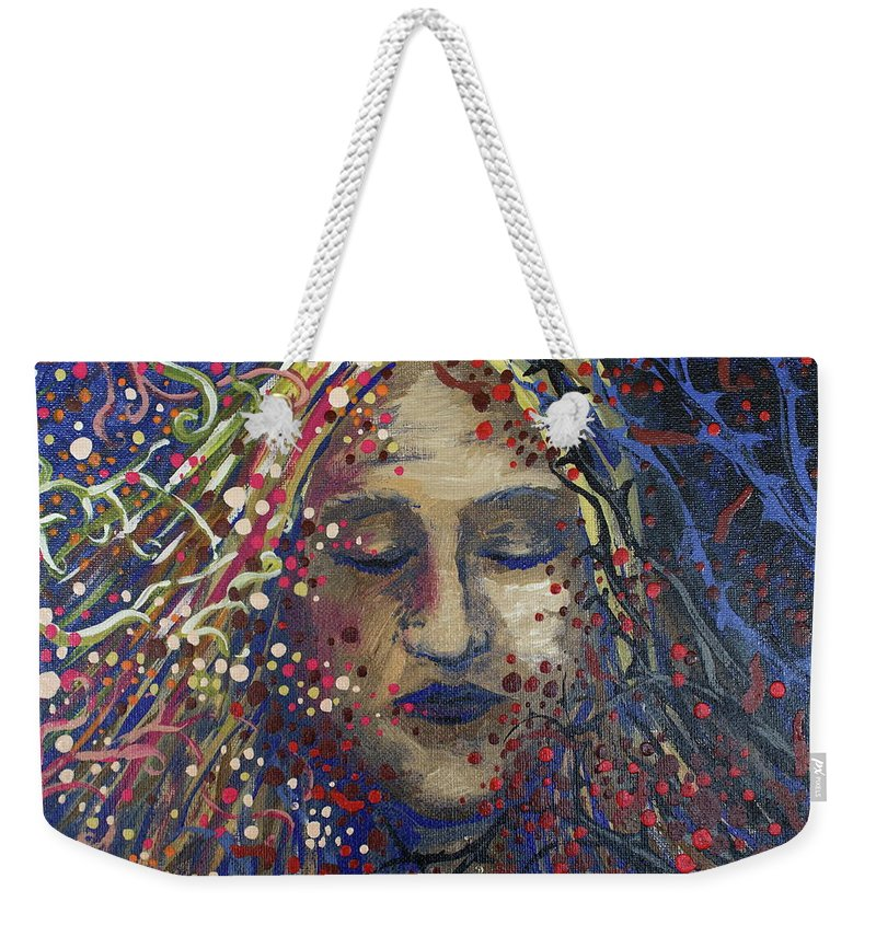 Struggle Weekender Tote Bag featuring the painting Struggle Of Blue by Jeni Reynolds