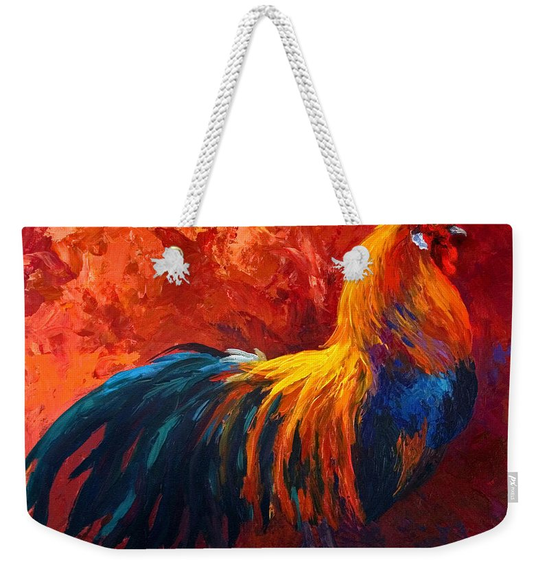 Rooster Weekender Tote Bag featuring the painting Strutting His Stuff by Marion Rose
