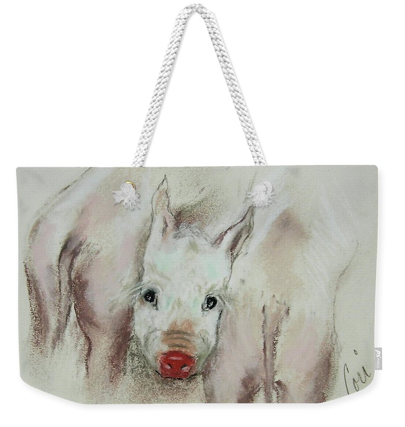 Animal Weekender Tote Bag featuring the drawing Stuck In The Middle by Cori Solomon
