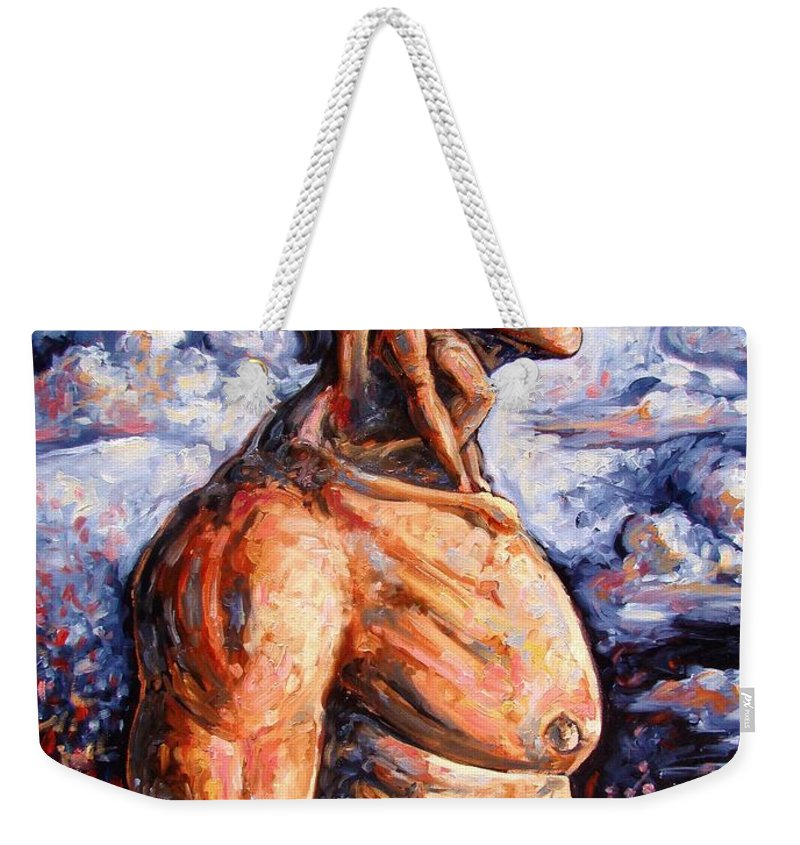 Surrealism Weekender Tote Bag featuring the painting Stuck On You In My Unconscious Paradise by Darwin Leon