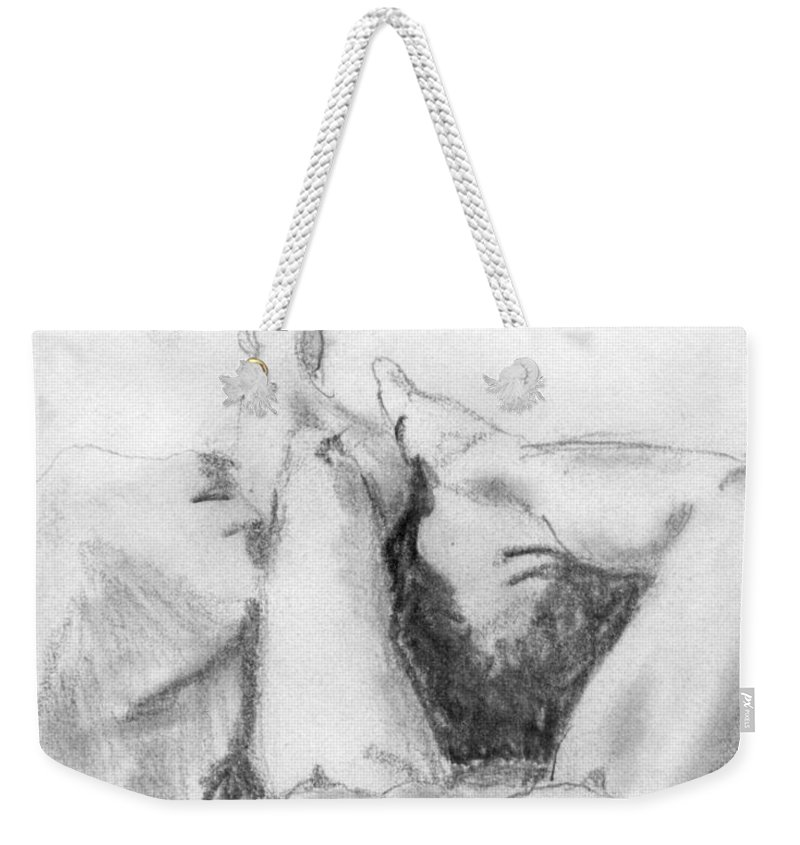 Nude Weekender Tote Bag featuring the drawing Student Model by Ron Bissett