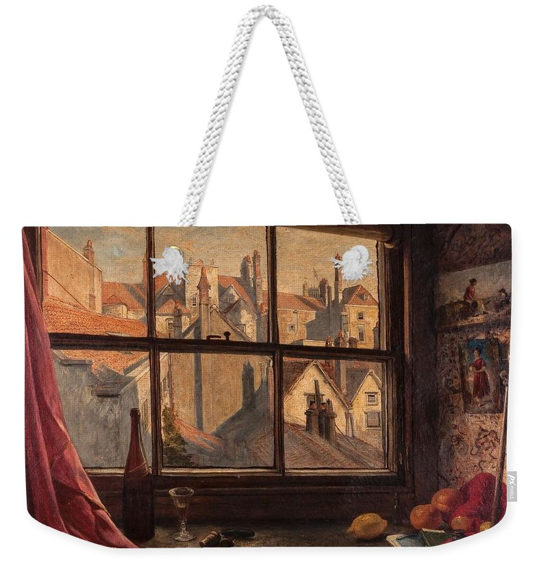 W. H. Woods (fl.1840-1860) Looking Out Of The Artist's Studio Window Weekender Tote Bag featuring the painting Studio Window by MotionAge Designs
