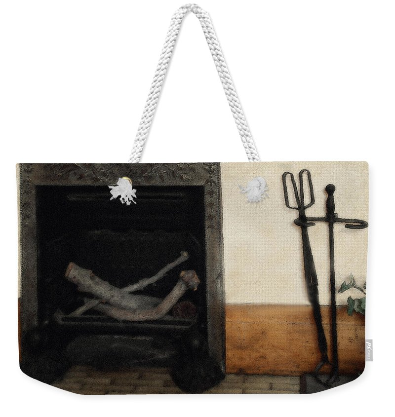 Fireplace Weekender Tote Bag featuring the painting Study In Iron, Wood And Stone by RC DeWinter