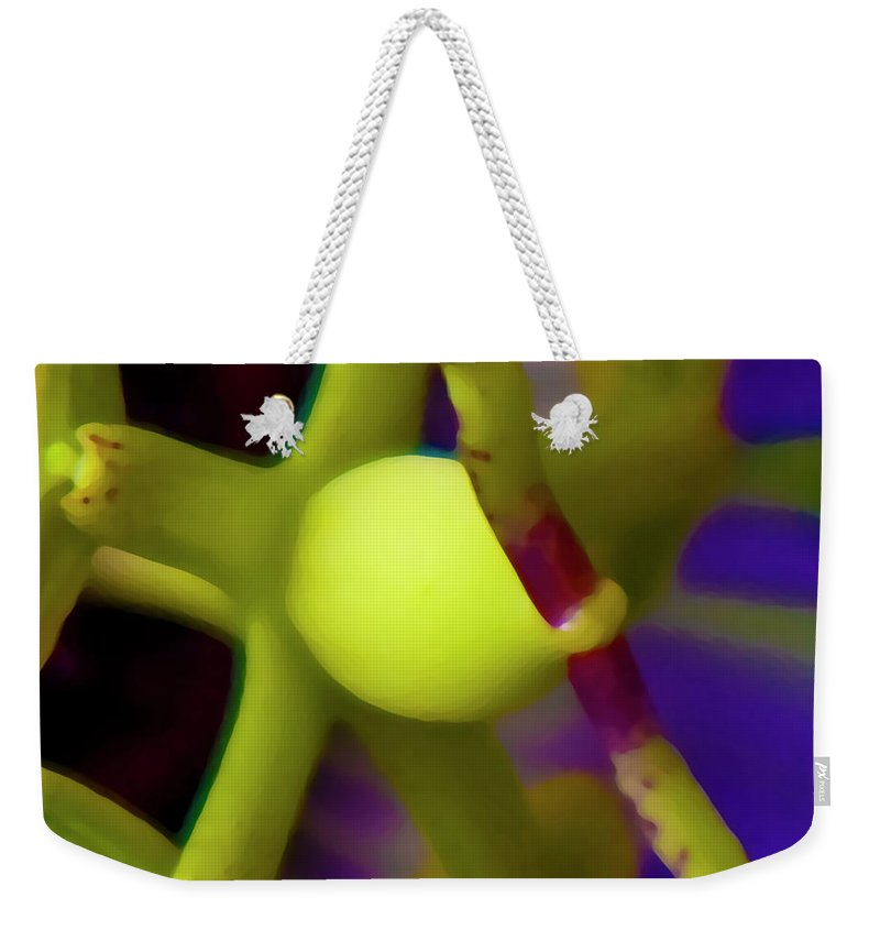Passion Fruit Weekender Tote Bag featuring the digital art Study Of Pistil And Stamen by Betsy Knapp