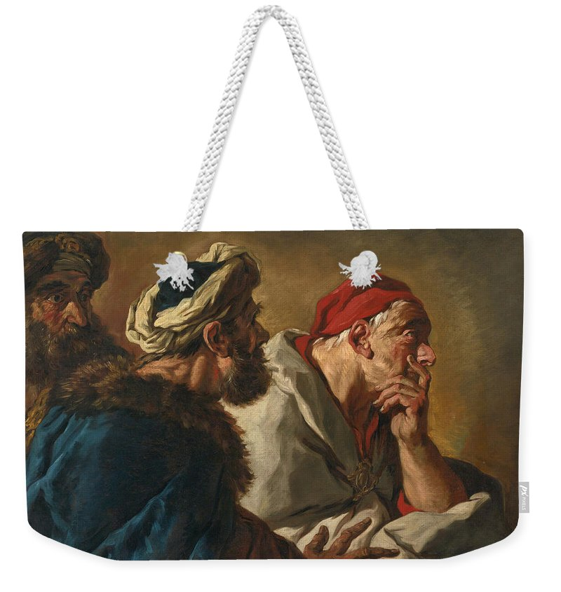 Attributed To Jean-francois Detroy Weekender Tote Bag featuring the painting Study Of Three Figures by Attributed to Jean-Francois Detroy