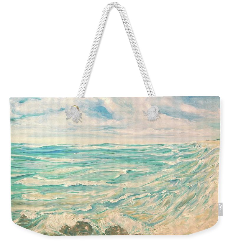 Ocean Weekender Tote Bag featuring the painting Study Of Tropical Blue by Jennifer Christenson