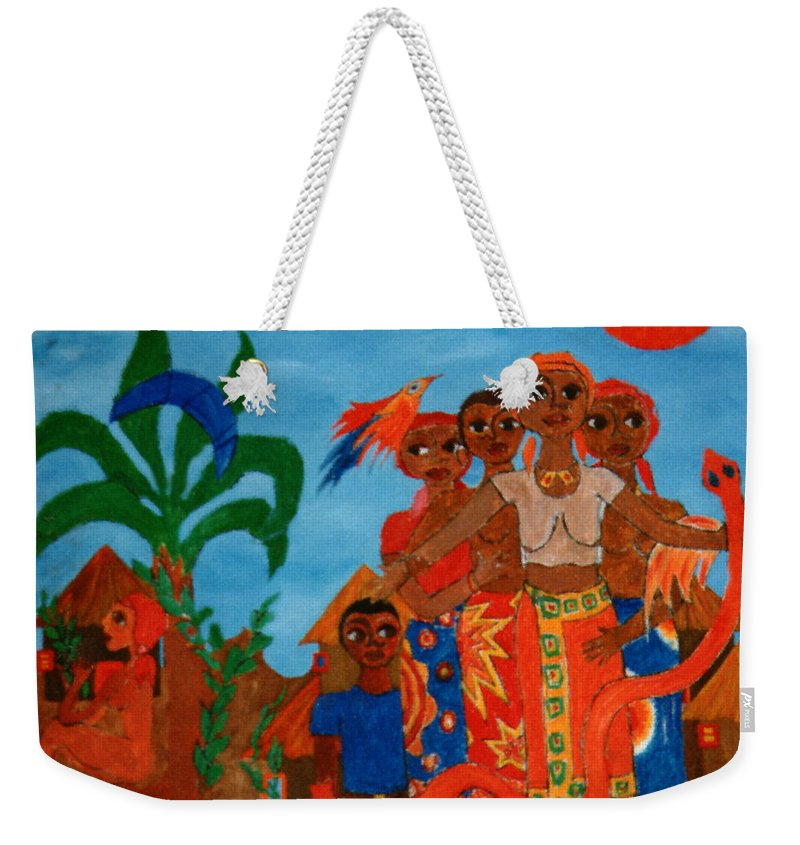 Study Weekender Tote Bag featuring the painting Study To Motherland A Place Of Exile by Madalena Lobao-Tello