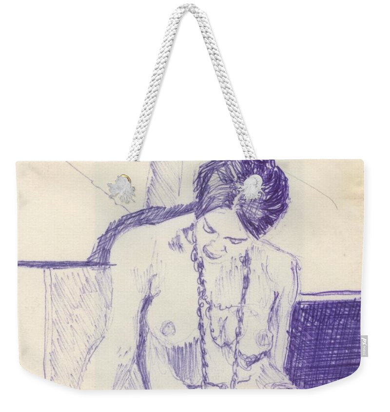 Ink Sketch Weekender Tote Bag featuring the drawing Studying For Exams by Ron Bissett
