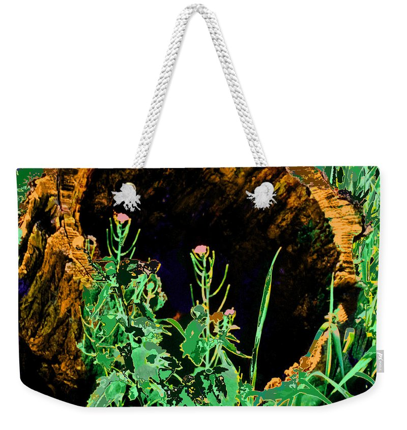Forest Weekender Tote Bag featuring the digital art Stump Transformed by Ian MacDonald