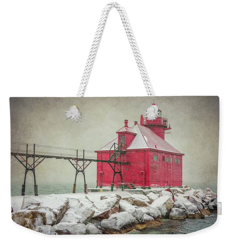 Joan Carroll Weekender Tote Bag featuring the photograph Sturgeon Bay Pierhead Lighthouse Storm by Joan Carroll
