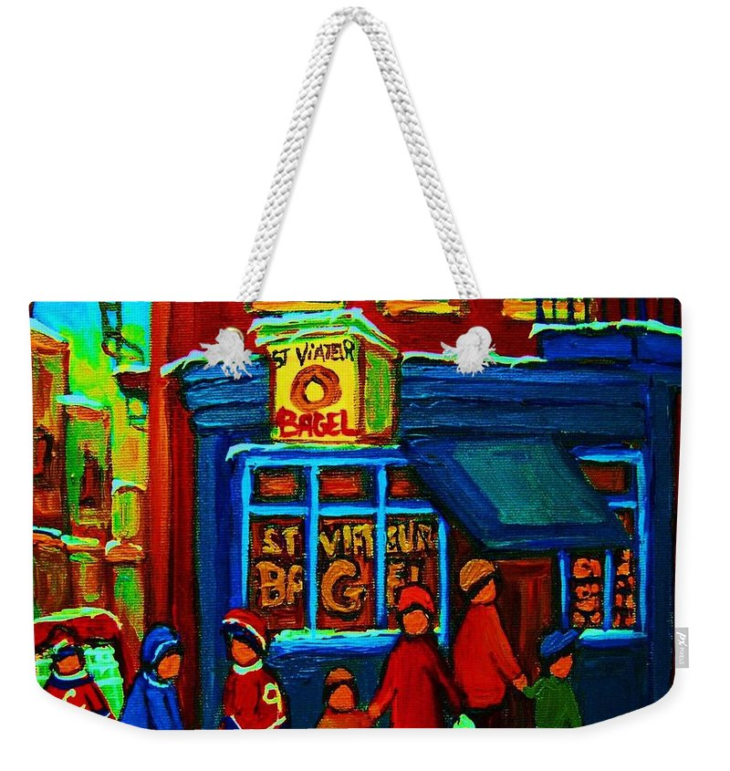 Montreal Bagelshop Weekender Tote Bag featuring the painting St.viateur Bagel And Hockey Kids by Carole Spandau