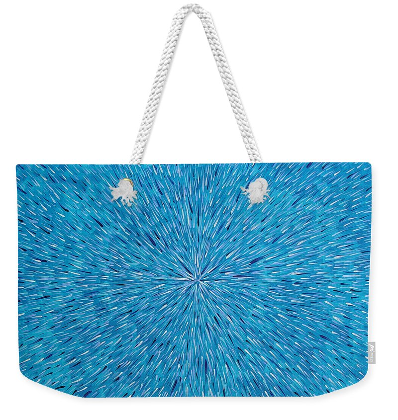 Abstract Weekender Tote Bag featuring the painting Su Gaia Rain by Dean Triolo