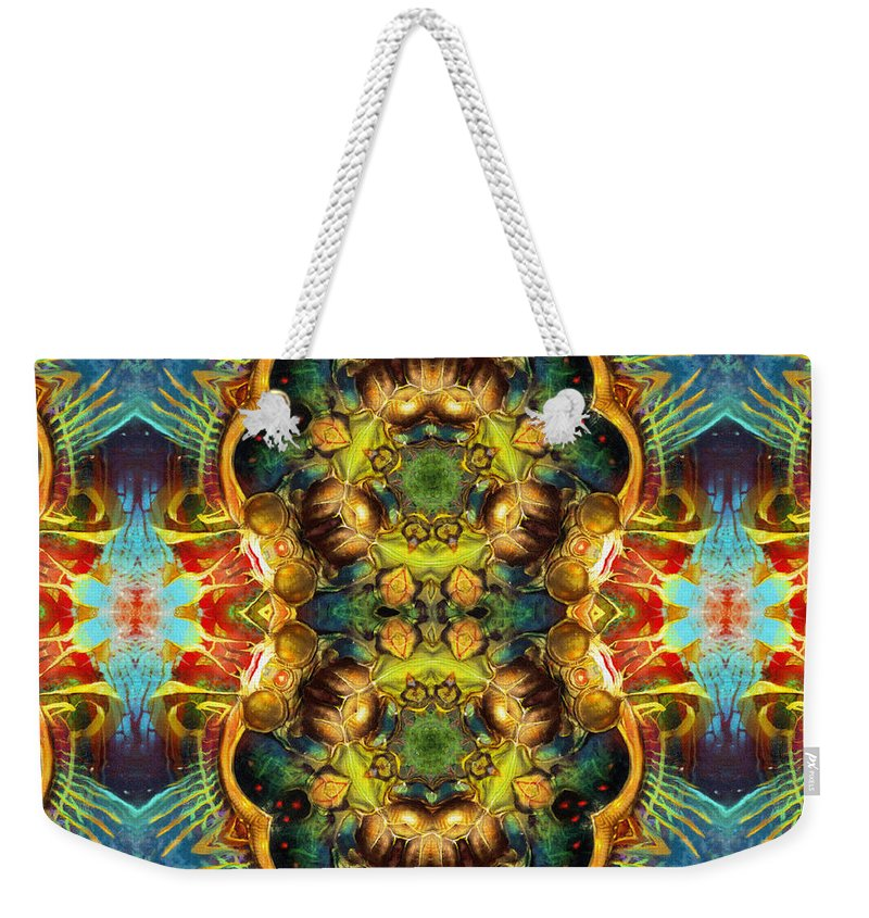 Abstract Weekender Tote Bag featuring the painting Subconscious Sacred Scrolls by Georgiana Romanovna