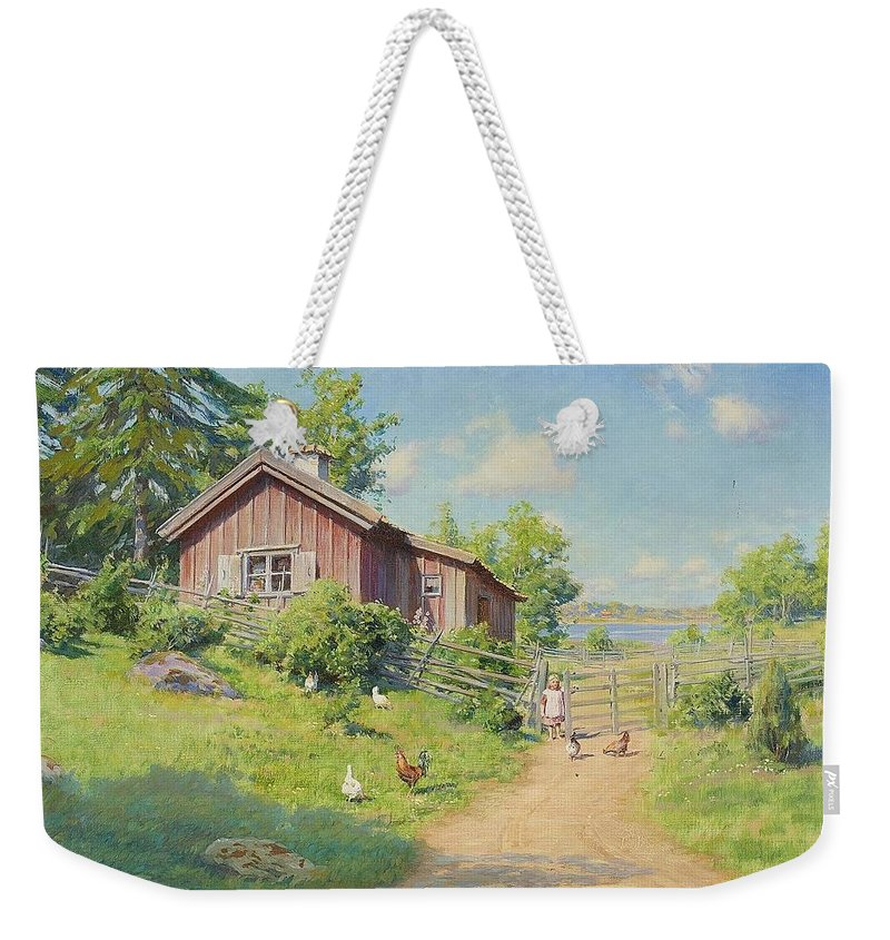 Johan KrouthÉn 1858-1932 Farm Subjects With Girl And Pecking Chickens Weekender Tote Bag featuring the painting Subjects With Girl And Pecking Chickens by MotionAge Designs