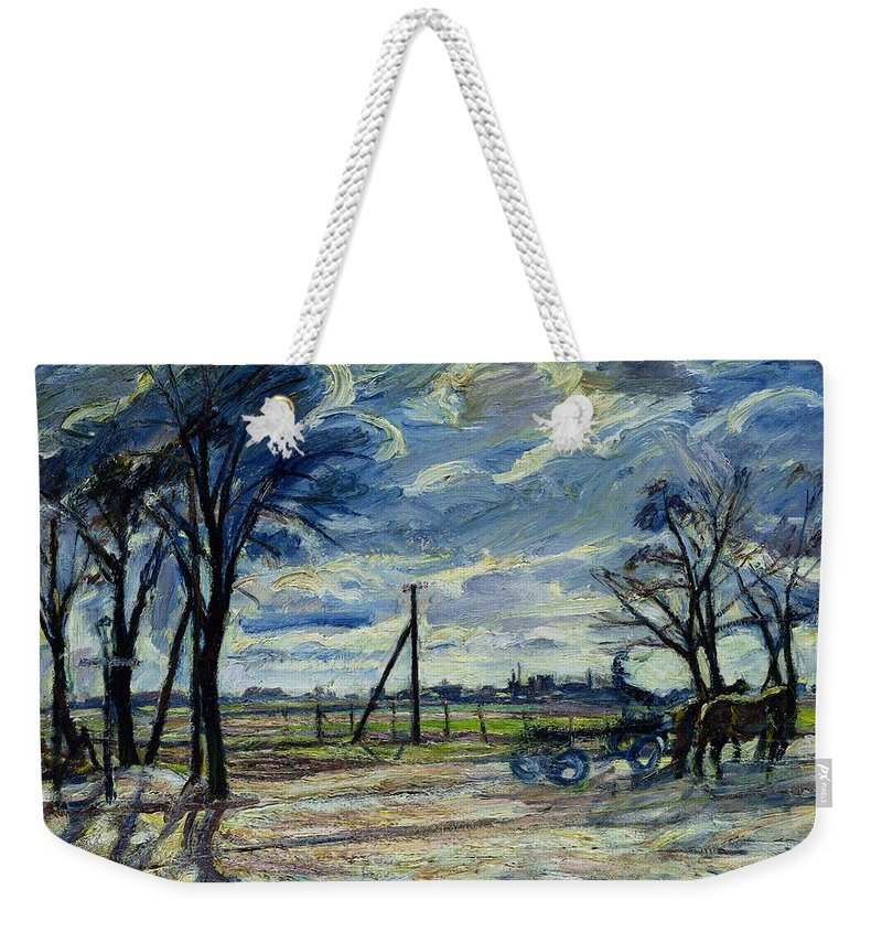Suburban Weekender Tote Bag featuring the photograph Suburban Landscape In Spring by Waldemar Rosler