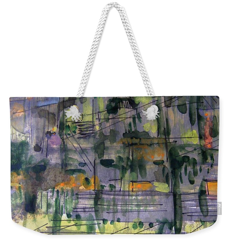 Abstract Gouache Landscape Weekender Tote Bag featuring the painting Suburbs 2 by Nancy Kane Chapman
