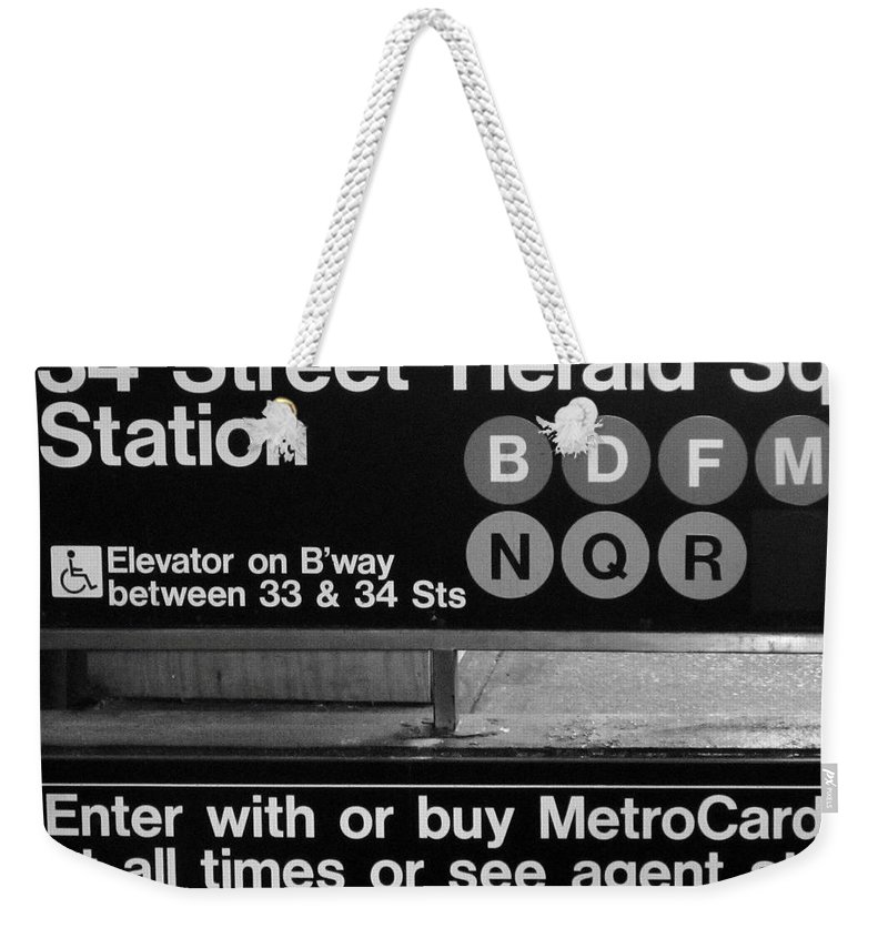 New York Weekender Tote Bag featuring the photograph Subway 34 Street by Debbi Granruth