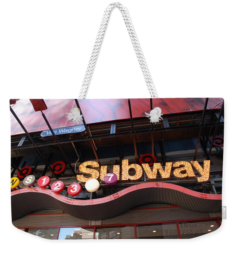 Neon Weekender Tote Bag featuring the photograph Subway by Rob Hans