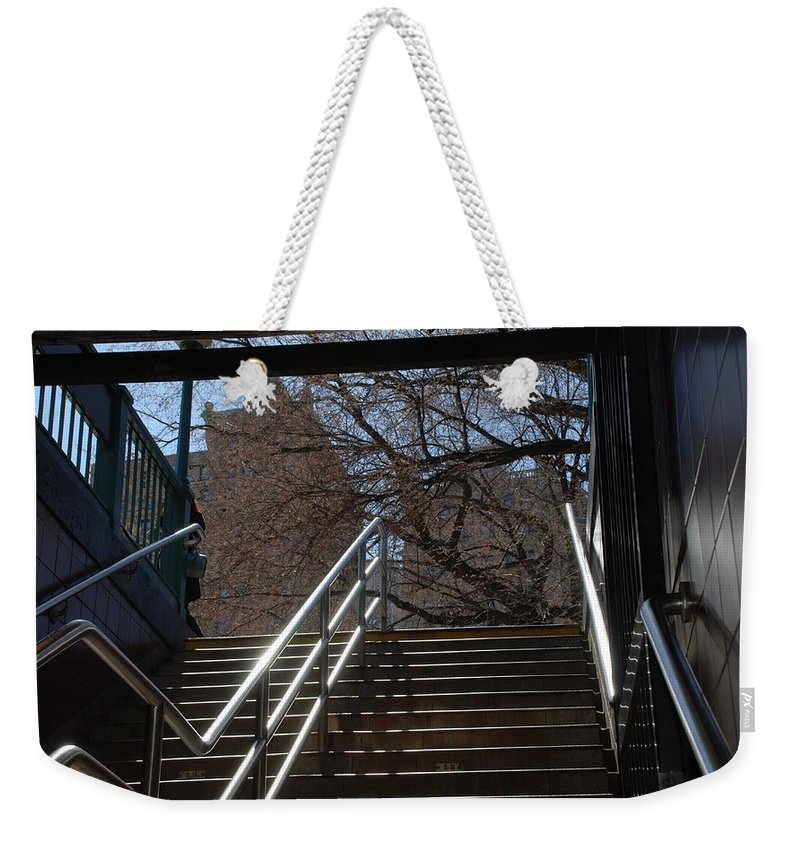Street Scene Weekender Tote Bag featuring the photograph Subway Stairs by Rob Hans