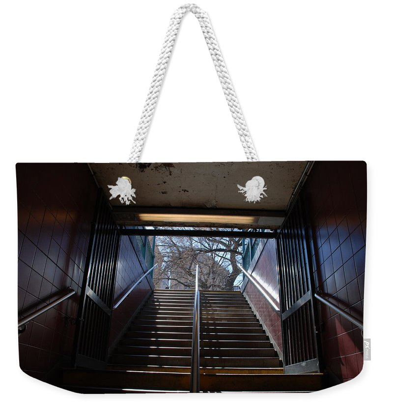 Pop Art Weekender Tote Bag featuring the photograph Subway Stairs To Freedom by Rob Hans