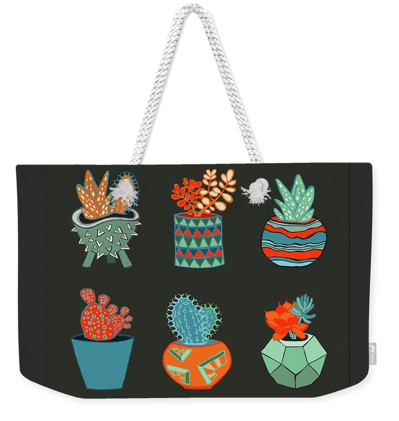 Succulent Weekender Tote Bag featuring the drawing Succulent Garden No. 1 by Lisa Frances Judd