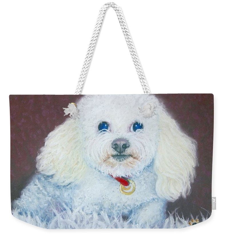 Dog Weekender Tote Bag featuring the painting Such A Charm by Minaz Jantz