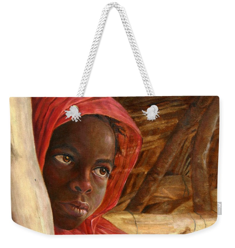 Children Painting Weekender Tote Bag featuring the painting Sudanese Girl by Portraits By NC