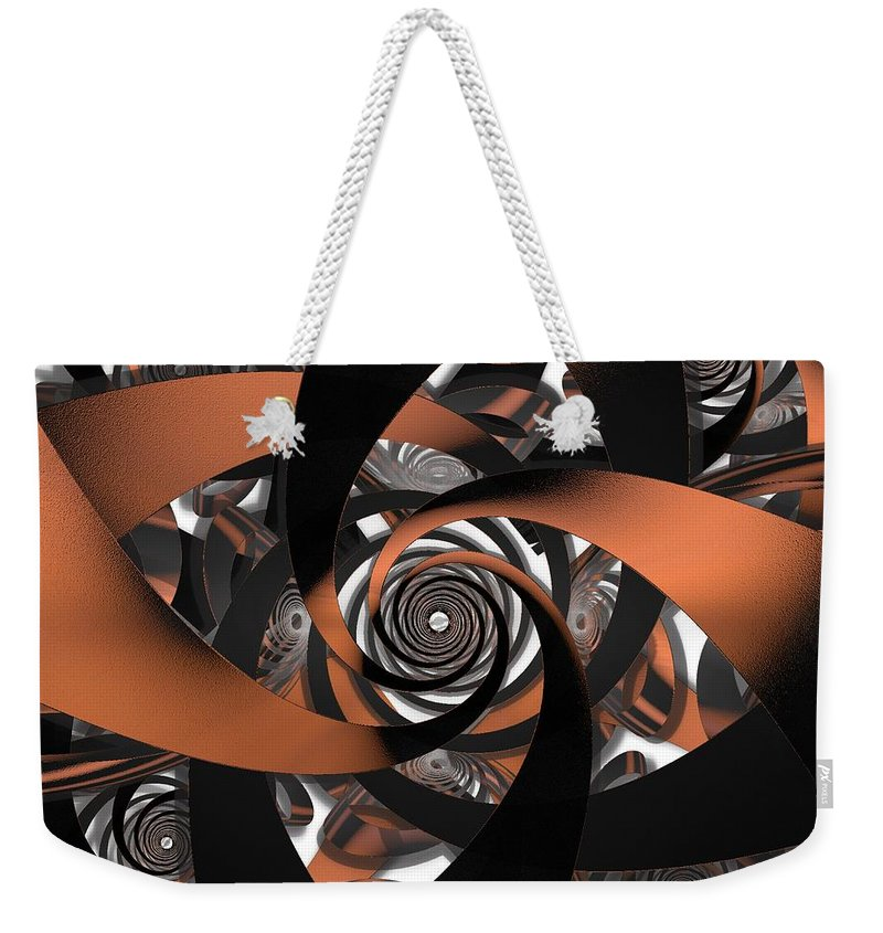 Fractal Weekender Tote Bag featuring the digital art Suede Spiral by Ron Bissett