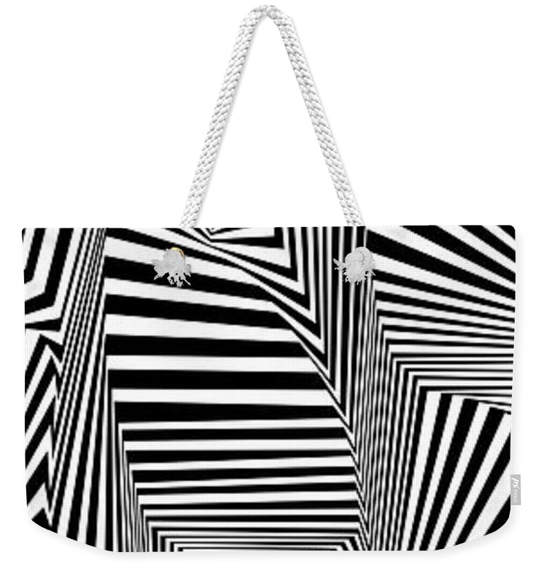 Dynamic Black And White Weekender Tote Bag featuring the painting Suevreserp by Douglas Christian Larsen