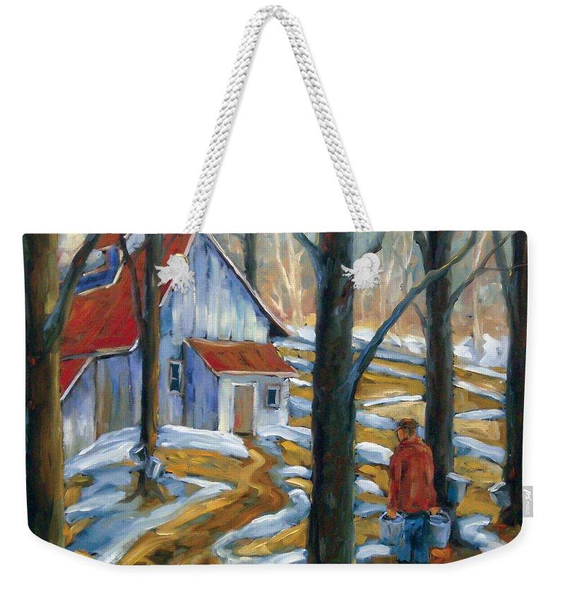 Suga Weekender Tote Bag featuring the painting Sugar Bush by Richard T Pranke