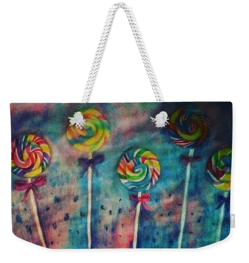 Candy Weekender Tote Bag featuring the painting Sugar Rush by Sunshine Amos