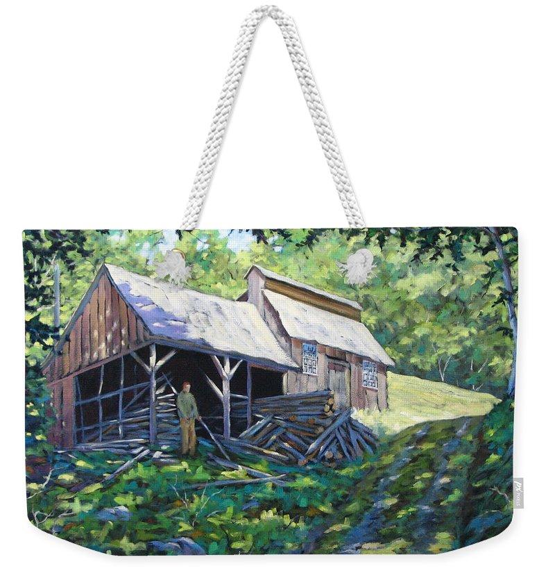 Sugar Shack Weekender Tote Bag featuring the painting Sugar Shack In July by Richard T Pranke