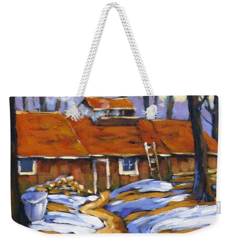 Sugar Shack Weekender Tote Bag featuring the painting Sugar Time by Richard T Pranke