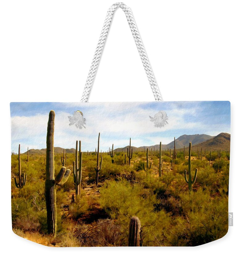 Suguaro Cactus Weekender Tote Bag featuring the photograph Suguro National Park by Kurt Van Wagner