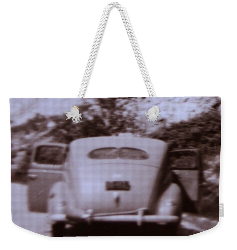 Old Cars Suicide Doors Antique Old Photo Car 1950 Automobile Classic Weekender Tote Bag featuring the photograph Suicide Doors by Andrea Lawrence