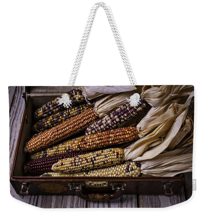 Suitcase Weekender Tote Bag featuring the photograph Suitcase Full Of Indian Corn by Garry Gay
