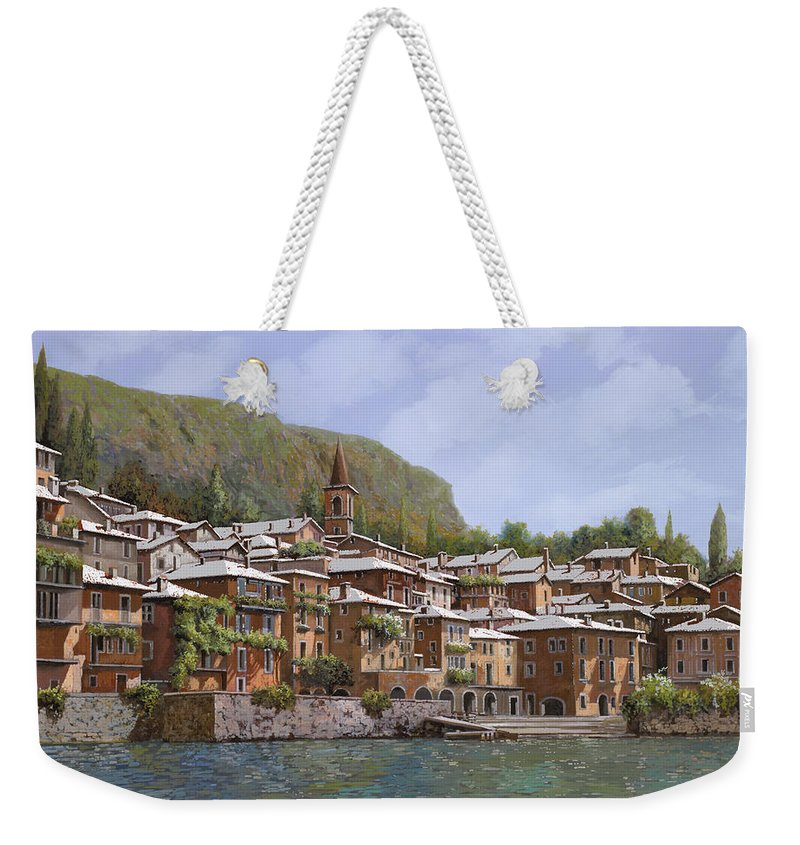 Lake Como Weekender Tote Bag featuring the painting Sul Lago Di Como by Guido Borelli