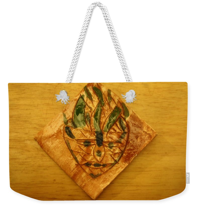 Jesus Weekender Tote Bag featuring the ceramic art Sullen - Tile by Gloria Ssali