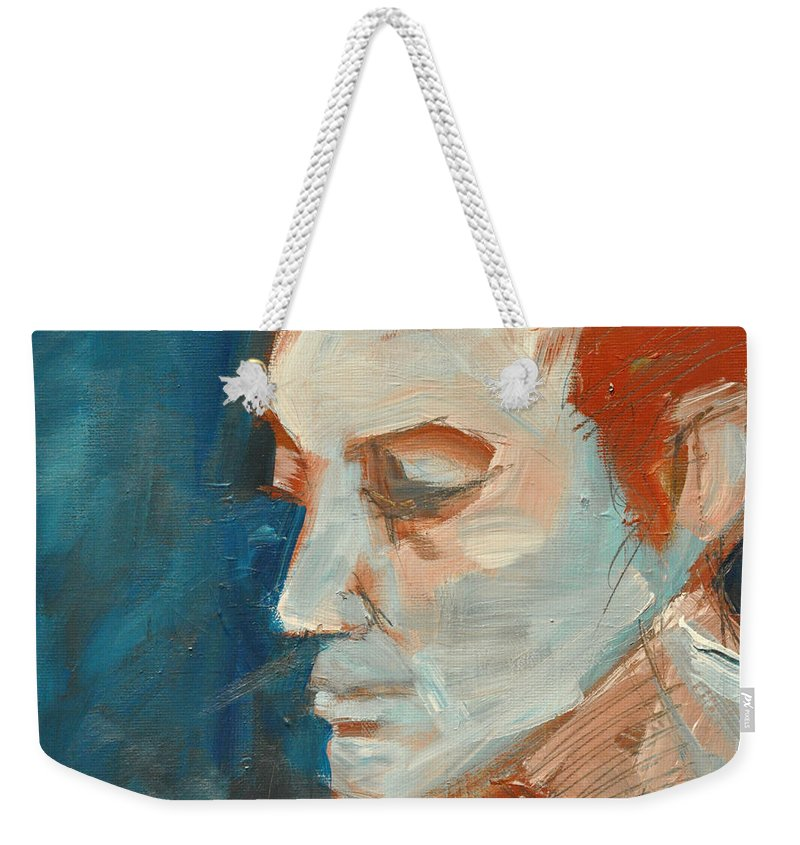 Face Weekender Tote Bag featuring the painting Sullen by Tim Nyberg