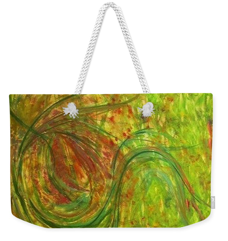 Original Art Weekender Tote Bag featuring the painting Summer - Whirling by Rae Chichilnitsky