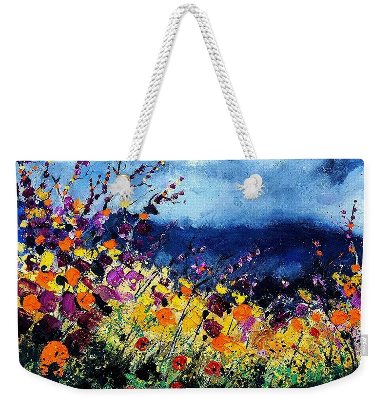 Poppy Weekender Tote Bag featuring the painting Summer 45 by Pol Ledent
