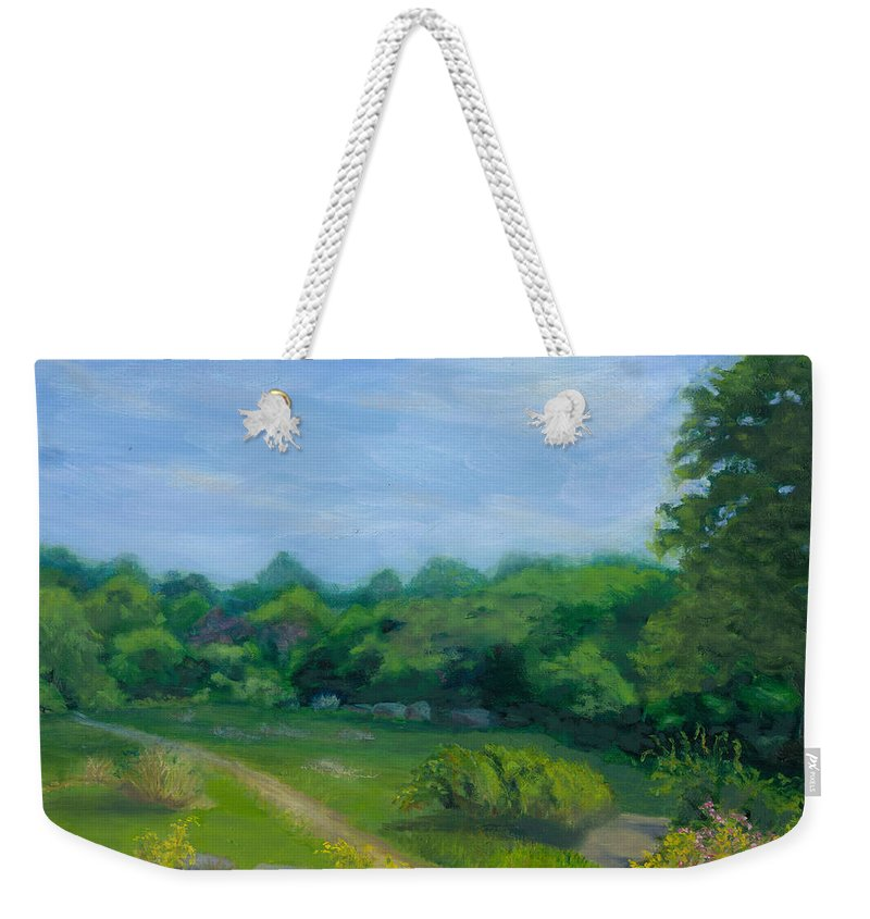 Landscape Weekender Tote Bag featuring the painting Summer Afternoon At Ashlawn Farm by Paula Emery