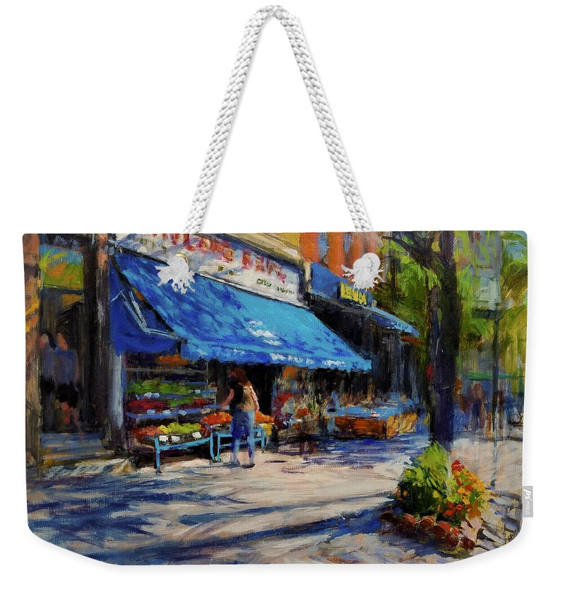 Family Business Weekender Tote Bag featuring the painting Summer Afternoon, Columbus Avenue by Peter Salwen