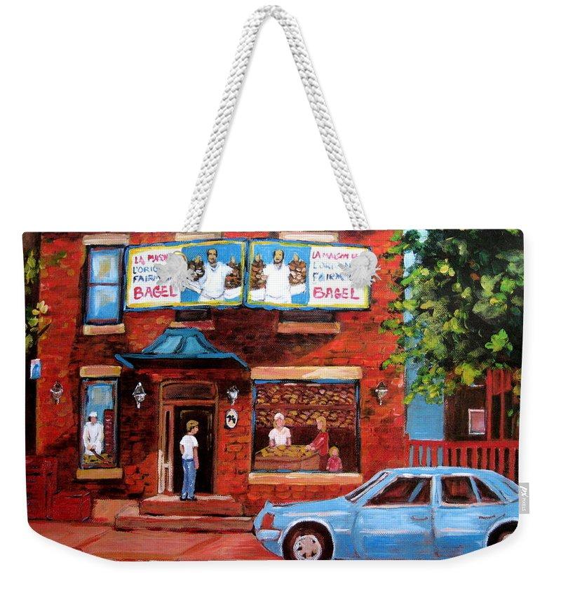 Fairmount Bagel Weekender Tote Bag featuring the painting Summer At Fairmount by Carole Spandau