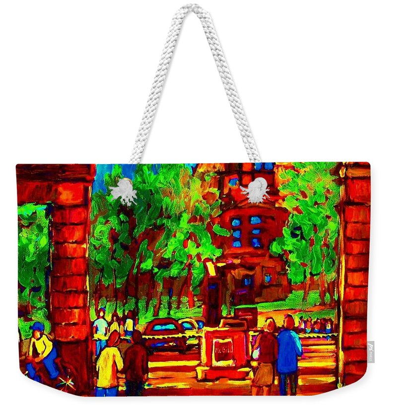 Mcgill University Weekender Tote Bag featuring the painting Summer At Mcgill University by Carole Spandau