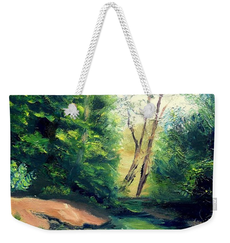 Landscape Weekender Tote Bag featuring the painting Summer At Storm by Gail Kirtz