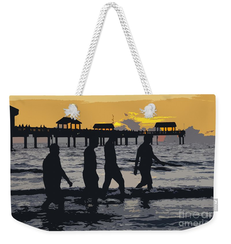 Men Weekender Tote Bag featuring the painting Summer At The Beach by David Lee Thompson