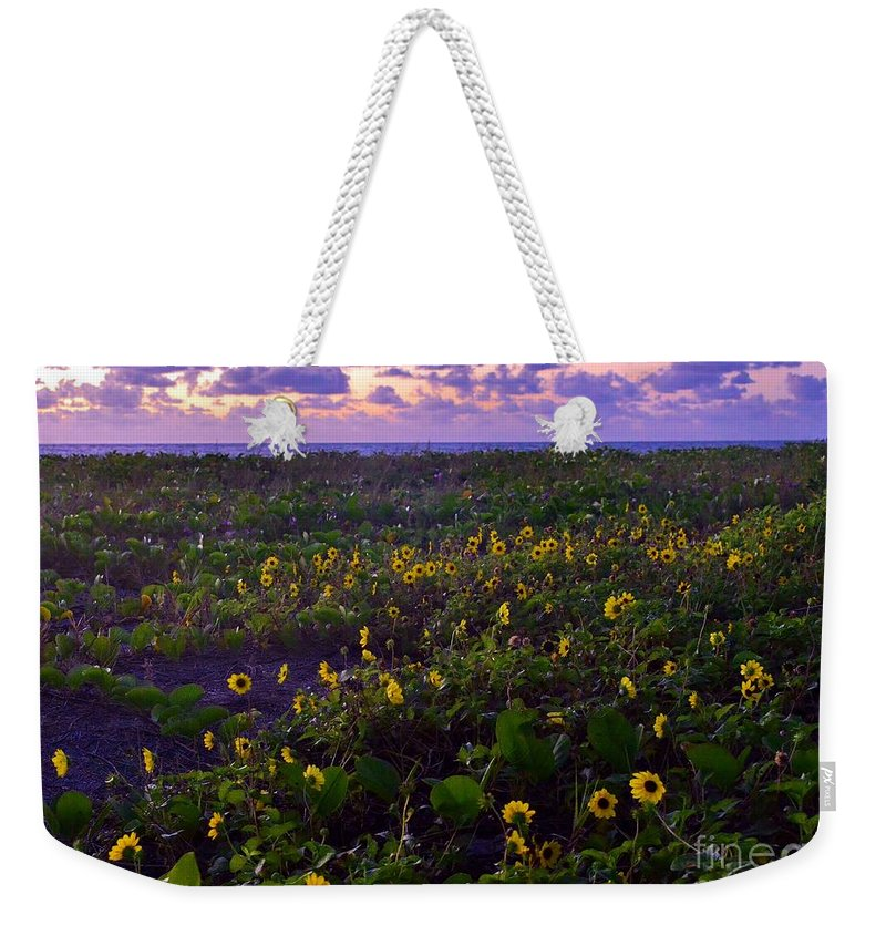 Beach Daisy Weekender Tote Bag featuring the photograph Summer Beach Daisies 1 by Lisa Renee Ludlum